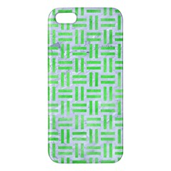 Woven1 White Marble & Green Watercolor (r) Apple Iphone 5 Premium Hardshell Case