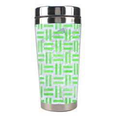 Woven1 White Marble & Green Watercolor (r) Stainless Steel Travel Tumblers