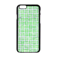 Woven1 White Marble & Green Watercolor (r) Apple Iphone 6/6s Black Enamel Case