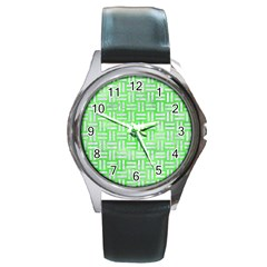 Woven1 White Marble & Green Watercolor Round Metal Watch