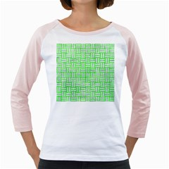 Woven1 White Marble & Green Watercolor Girly Raglans