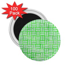 Woven1 White Marble & Green Watercolor 2 25  Magnets (100 Pack)