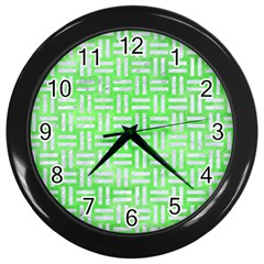 Woven1 White Marble & Green Watercolor Wall Clock (black)