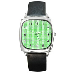 Woven1 White Marble & Green Watercolor Square Metal Watch