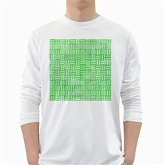 Woven1 White Marble & Green Watercolor White Long Sleeve T Shirts