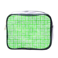 Woven1 White Marble & Green Watercolor Mini Toiletries Bags