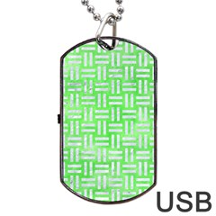 Woven1 White Marble & Green Watercolor Dog Tag Usb Flash (one Side)