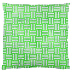 Woven1 White Marble & Green Watercolor Large Cushion Case (one Side)