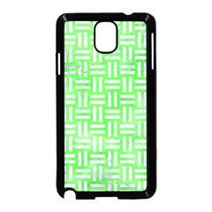 Woven1 White Marble & Green Watercolor Samsung Galaxy Note 3 Neo Hardshell Case (black)