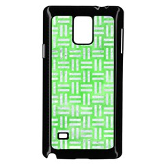 Woven1 White Marble & Green Watercolor Samsung Galaxy Note 4 Case (black)