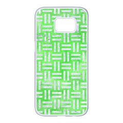 Woven1 White Marble & Green Watercolor Samsung Galaxy S7 Edge White Seamless Case