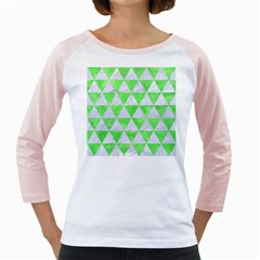 Triangle3 White Marble & Green Watercolor Girly Raglans