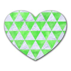 Triangle3 White Marble & Green Watercolor Heart Mousepads