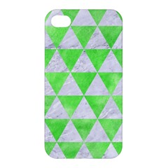 Triangle3 White Marble & Green Watercolor Apple Iphone 4/4s Premium Hardshell Case