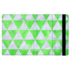 Triangle3 White Marble & Green Watercolor Apple Ipad 3/4 Flip Case