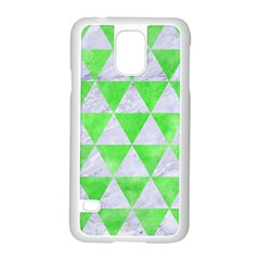Triangle3 White Marble & Green Watercolor Samsung Galaxy S5 Case (white)