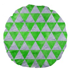 Triangle3 White Marble & Green Watercolor Large 18  Premium Flano Round Cushions by trendistuff