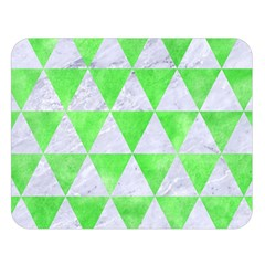 Triangle3 White Marble & Green Watercolor Double Sided Flano Blanket (large)