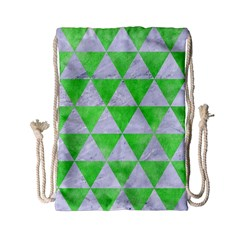 Triangle3 White Marble & Green Watercolor Drawstring Bag (small)