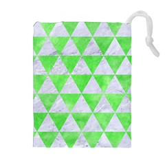 Triangle3 White Marble & Green Watercolor Drawstring Pouches (extra Large)
