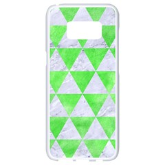 Triangle3 White Marble & Green Watercolor Samsung Galaxy S8 White Seamless Case