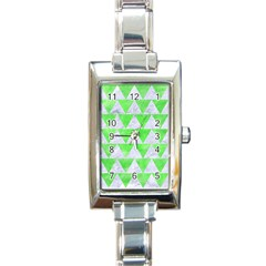 Triangle2 White Marble & Green Watercolor Rectangle Italian Charm Watch