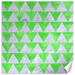 Triangle2 White Marble & Green Watercolor Canvas 16  X 16