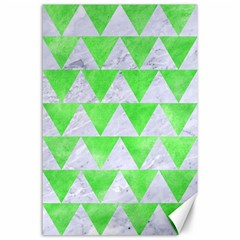 Triangle2 White Marble & Green Watercolor Canvas 24  X 36