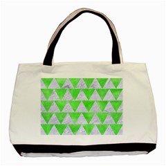 Triangle2 White Marble & Green Watercolor Basic Tote Bag (two Sides)