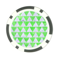 Triangle2 White Marble & Green Watercolor Poker Chip Card Guard