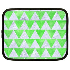 Triangle2 White Marble & Green Watercolor Netbook Case (large)
