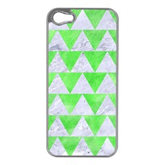 Triangle2 White Marble & Green Watercolor Apple Iphone 5 Case (silver)