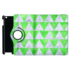 Triangle2 White Marble & Green Watercolor Apple Ipad 3/4 Flip 360 Case
