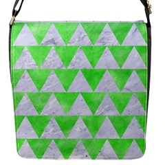 Triangle2 White Marble & Green Watercolor Flap Messenger Bag (s)