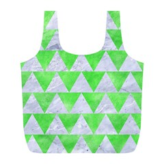 Triangle2 White Marble & Green Watercolor Full Print Recycle Bags (l)  by trendistuff