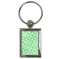 Triangle1 White Marble & Green Watercolor Key Chains (rectangle)