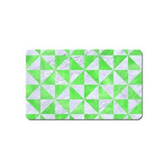 Triangle1 White Marble & Green Watercolor Magnet (name Card)