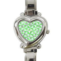 Triangle1 White Marble & Green Watercolor Heart Italian Charm Watch