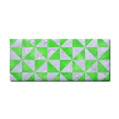 Triangle1 White Marble & Green Watercolor Hand Towel