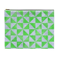 Triangle1 White Marble & Green Watercolor Cosmetic Bag (xl)