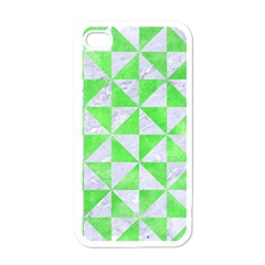 Triangle1 White Marble & Green Watercolor Apple Iphone 4 Case (white)