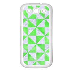 Triangle1 White Marble & Green Watercolor Samsung Galaxy S3 Back Case (white)