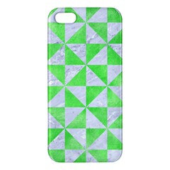 Triangle1 White Marble & Green Watercolor Iphone 5s/ Se Premium Hardshell Case