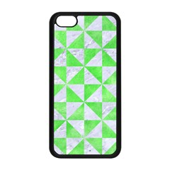 Triangle1 White Marble & Green Watercolor Apple Iphone 5c Seamless Case (black)