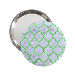 Tile1 (r) White Marble & Green Watercolor 2 25  Handbag Mirrors