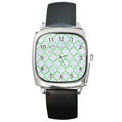 Tile1 (r) White Marble & Green Watercolor Square Metal Watch