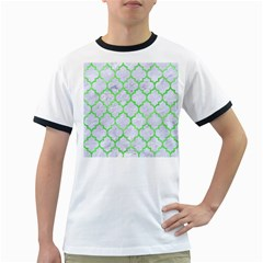 Tile1 (r) White Marble & Green Watercolor Ringer T Shirts