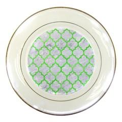 Tile1 (r) White Marble & Green Watercolor Porcelain Plates