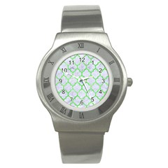 Tile1 (r) White Marble & Green Watercolor Stainless Steel Watch
