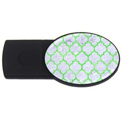 Tile1 (r) White Marble & Green Watercolor Usb Flash Drive Oval (4 Gb)